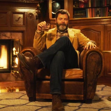 Behold, 45 Minute Video Of Nick Offerman Enjoying Fine Whiskey by the Fire