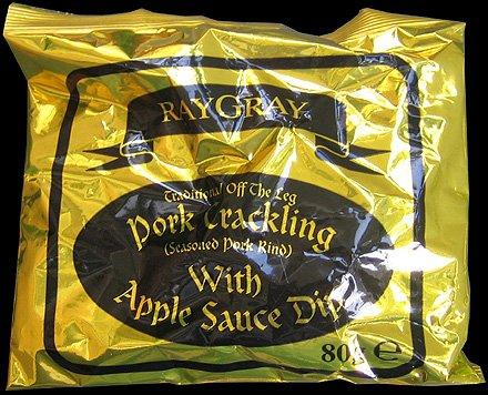 Ray Gray Apple Sauce Dip Pork Crackling Review - Ray Gray, Apple Sauce Dip Pork Crackling Review