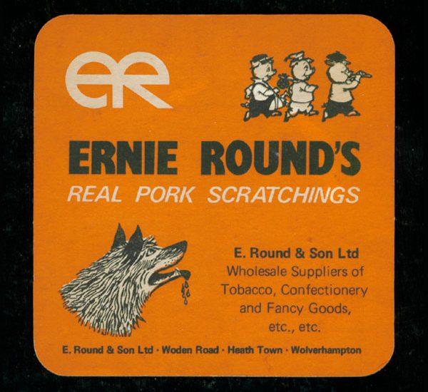 Vintage Ernie Rounds real pork scratchings beer mat 600x550 - Smiths Pork Crackling Flavour Potato Crisps - Beer Mat