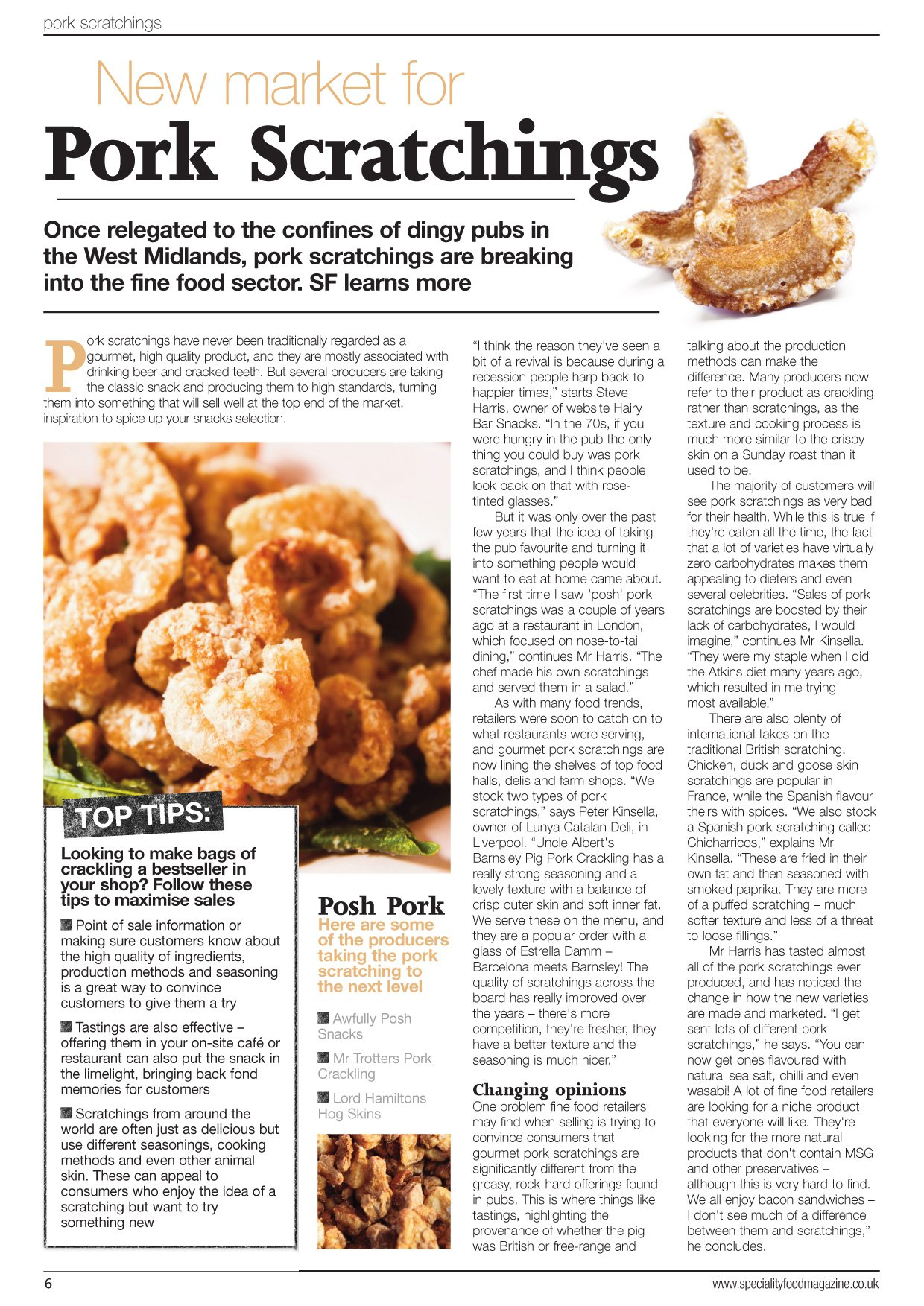 Speciality Food Magazine Article Hairy Bar Snacks