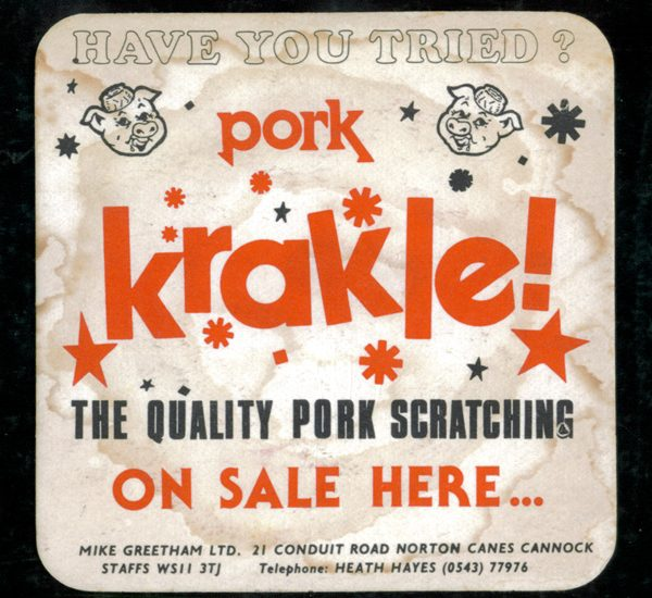 vintage pork krackle beer mat 600x550 - Vintage Pork Krackle Beer Mat
