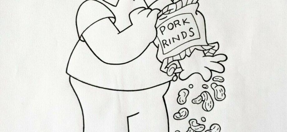 homer simpson eating pork rinds hand drawn 920x425 - Homer Simpson eating Pork Rinds - Hand Drawn Model Sheet on eBay