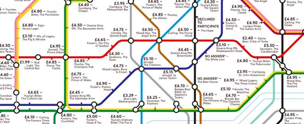 pubmap5 1035x425 - Redesigned Tube map shows cheapest pints of beer close to London stations