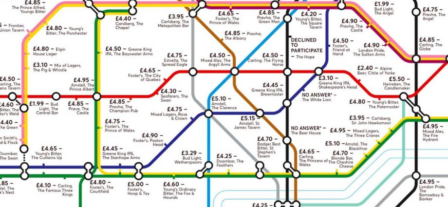 pubmap5 920x425 - Redesigned Tube map shows cheapest pints of beer close to London stations