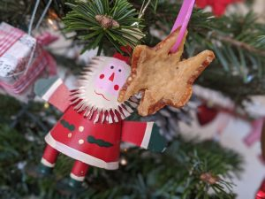Pork crackling Christmas star decoration on a Christmas tree