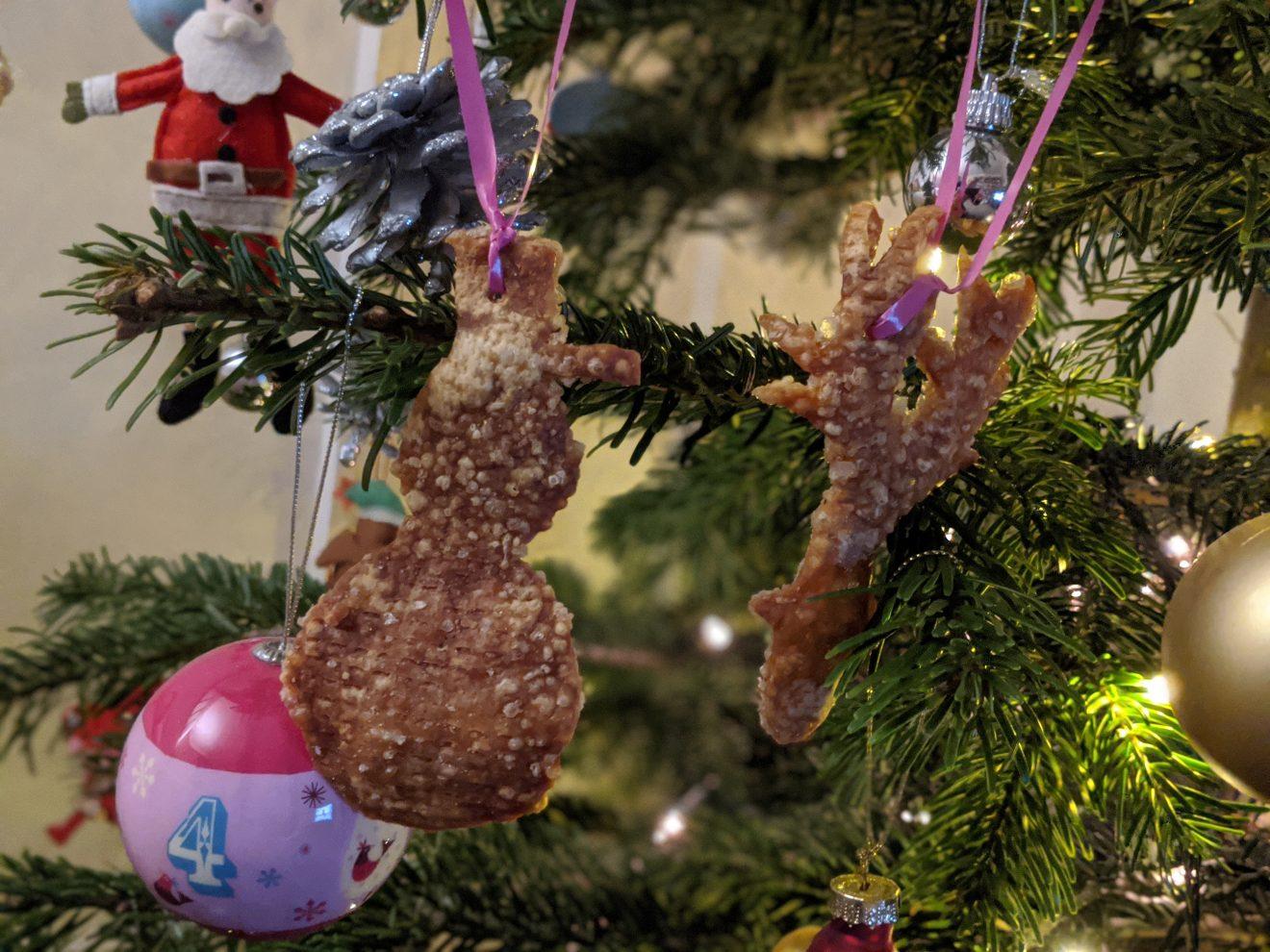 Pork crackling Christmas decorations on a Christmas tree