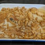Pork crackling Christmas decorations in a pan