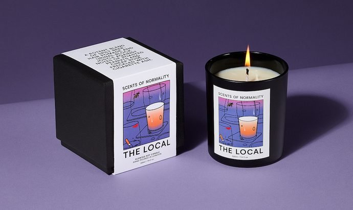 candle with smell of the local and pork scratchings 690x411 - Pork Scratching Scented Candles!