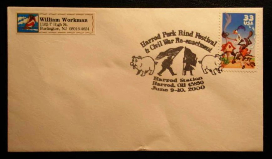 pork rind festival first day cover cancel cover - Pork Rind Heritage Festival - Harrod, Ohio, USA