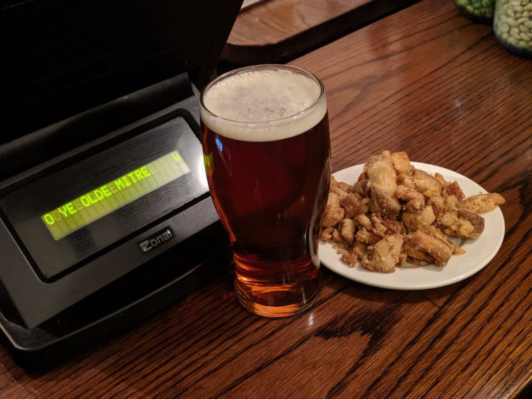 ye olde mitre pub london pork scratchings on a plate 768x576 - What are the Best Value Pork Scratchings?
