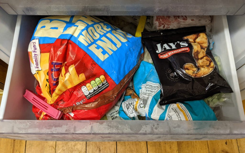 jays pork scratchings in the freezer 1024x641 - Can you freeze pork scratchings?