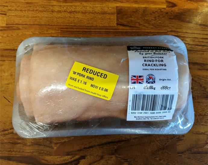 Morrisons reduced pork rind for crackling 690x550 - Tips for buying reduced pork rind from Morrison's