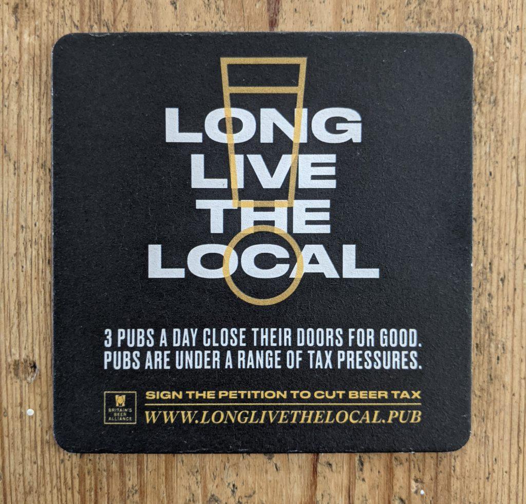 long live the local pork scratchings beer mat front 1024x981 - Vintage 'Long Live the Local' Pork Scratchings Beer Mat