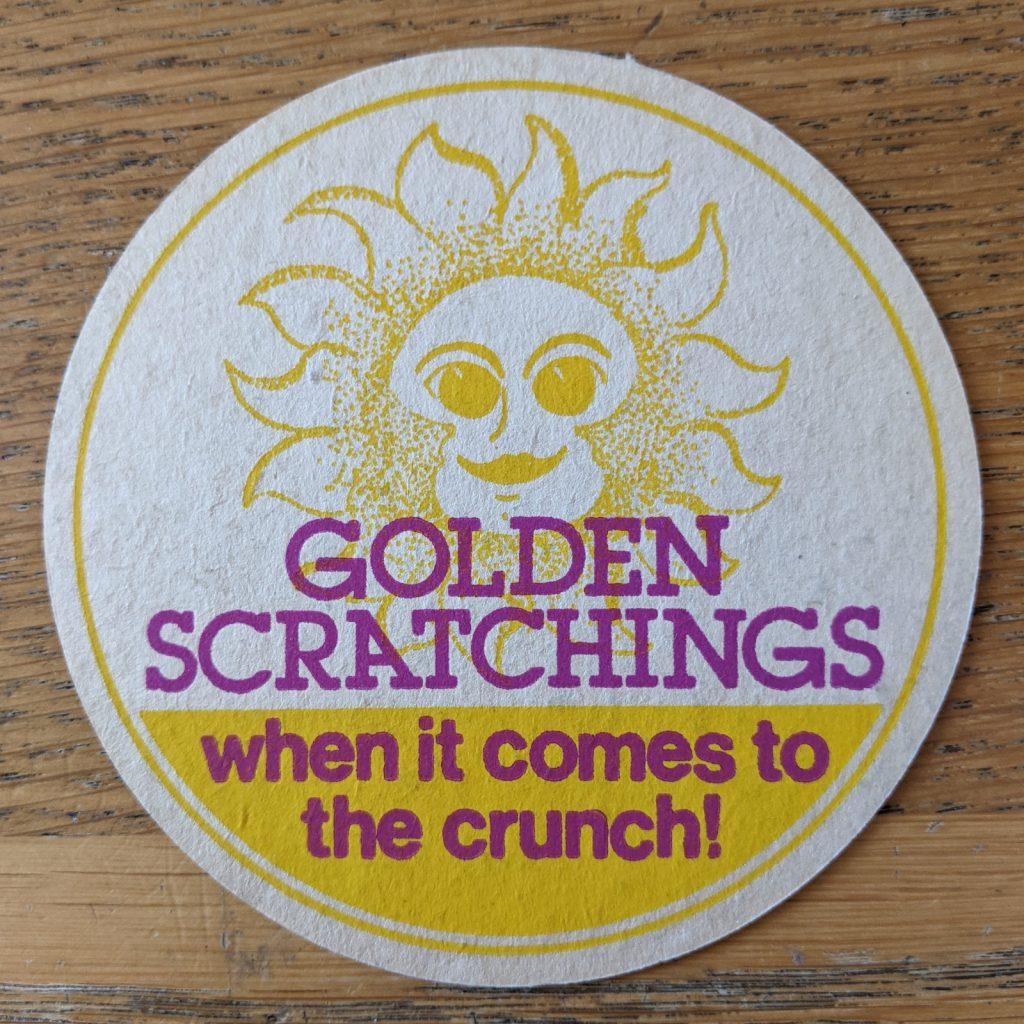 golden scratchings beer mat front 1024x1024 - Vintage 'Golden Scratchings' Pork Scratchings Beer Mat