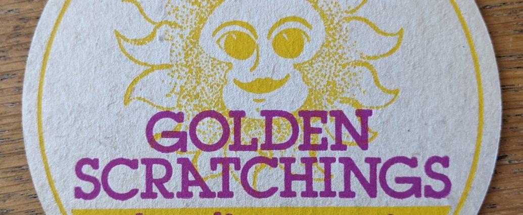 golden scratchings beer mat front 1035x425 - Vintage 'Golden Scratchings' Pork Scratchings Beer Mat