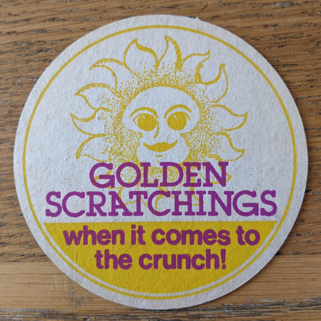Vintage 'Golden Scratchings' Pork Scratchings Beer Mat
