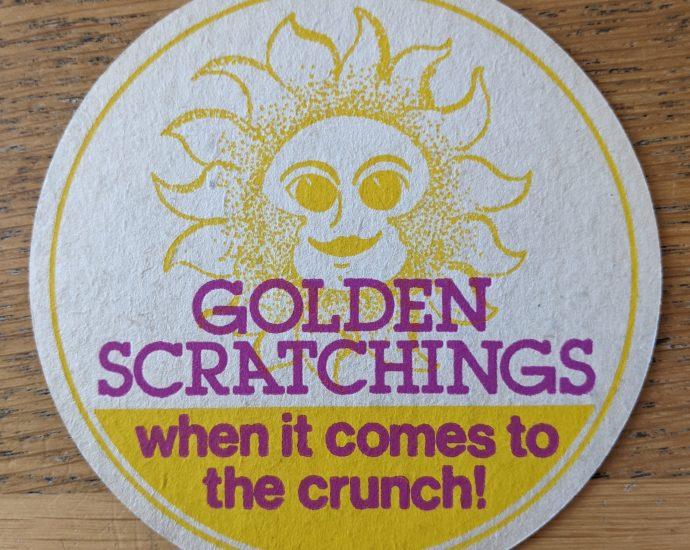 golden scratchings beer mat front 690x550 - Smiths Pork Crackling Flavour Potato Crisps - Beer Mat