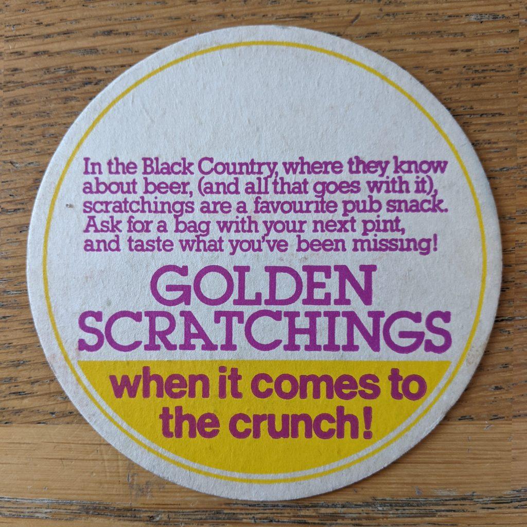 golden scratchings beer mat back 1024x1024 - Vintage 'Golden Scratchings' Pork Scratchings Beer Mat